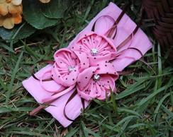 Faixa de meia flores fuxico rosa