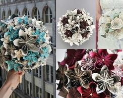 Buqu� com flores de papel