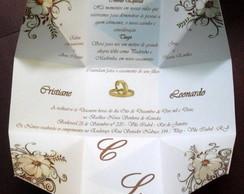 Convite de Casamento Floral Marrom