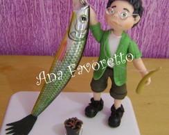 Topo de bolo de pescador fazendo 50 anos