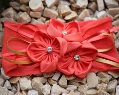 Faixa de meia beb� flores coral