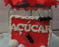 Pote de a��car decorado em biscuit