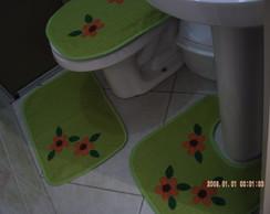 Jogo Banheiro Atoalhado Verde Fl�res 4 P