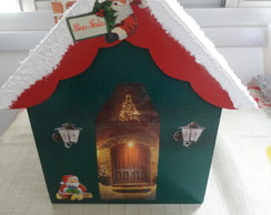 Porta Panetone Casinha do Papai Noel