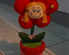 vaso flor boneca ...de feltro  centro de