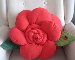 Almofada Flor Vermelha Dupla Face