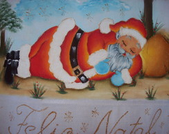 Pano de Prato Papai Noel Dormindo