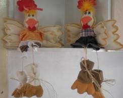Casal de Galinhas Decorativas