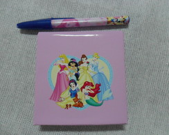 Notepad + Mini Caneta Princesas