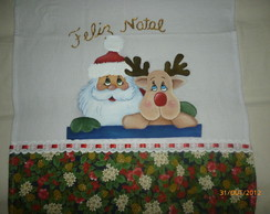 Pano De Prato Papai Noel e Rena