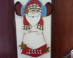 Papai Noel de Pijamas com placa  MDF