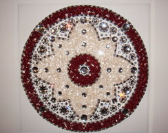 Mandala Jaspe Vermelho e Cristal Branco