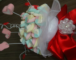 Buqu� de marshmallows cora��o c/ P. A.