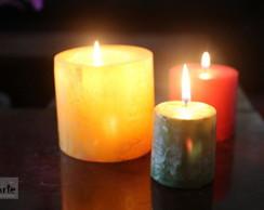 Trio de lumin�ria e vela maci�a