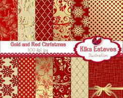 Pap�is Digitais Natal Vermelho e Dourado