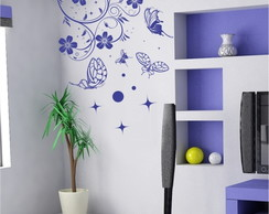 Adesivo Decorativo flor e borboletas