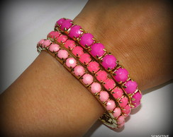 KIT PULSEIRAS STRASS CANDY COLOR - PINK