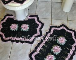 Jogo de Banheiro com flor d�lia