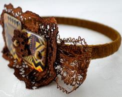 Bracelete Estampa �tnica com Renda