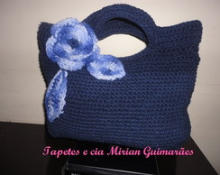 bolsa Margarete de croch� azul marinho