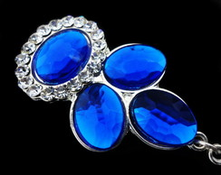 Brinco Prata e Azul Royal