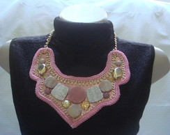 Maxi Colar rosa Com Pedras