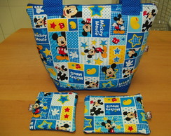 Bolsa Mickey + n�cessaire + porta moedas