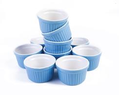 Ramequim azul conjunto com 10 pe�as