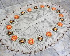 Tapete oval com flores manaca