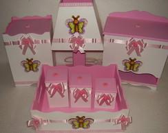 Kit beb� Borboleta Rosa e Branco