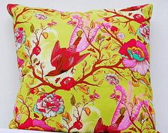 Capa de almofada p�ssaros e flores