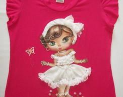 Camisa feminina infantil M�os de Anjo