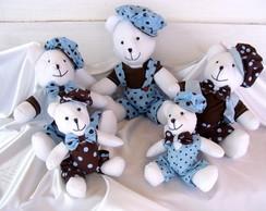 """5 Ursos Azul e Marrom """"P, M e G"""""""