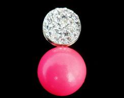 Brinco Prata e Rosa Neon