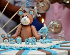 Topo de bolo Urso Po� Azul com Marrom