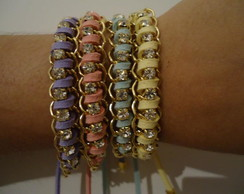 Pulseiras com strass tons past�is