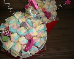 Buqu� de marshmallows/bala de goma pink