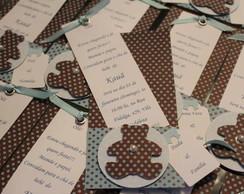 Convite ch� de beb� urso azul e marrom