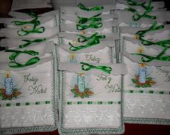 Toalha de lavabo com vela de natal