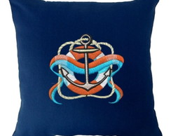 Capa para Almofada bordada Nautico