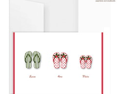 Cart�o Duplo Chinelinhos Natal (5 UN)