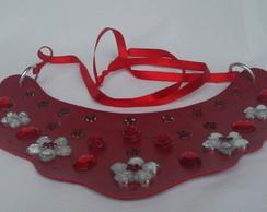 Maxi Colar vermelho Flores