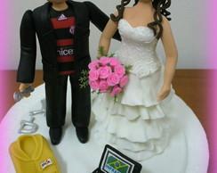 Topo de bolo - Casamento Patr�cia e Jr