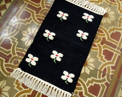 Tapete Floral - Preto e Branco