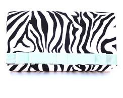 Clutch zebra com la�o verde menta