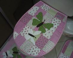 Jogo de Banheiro Rosa Borboletas 03 pe�as