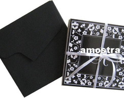 Cart�o duplo black flowers com Monograma