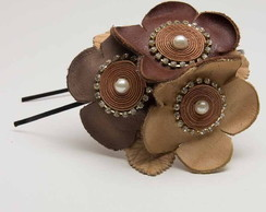 Tiara flores de couro
