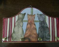Porta chaves com 4 ganchos Gatos