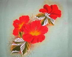 Pano de copa hibiscos vermelho